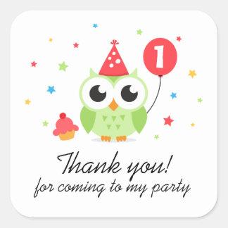 Le hibou de Parti Vert avec l anniversaire de ball Autocollants Carrés