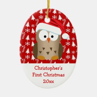 Le hibou de Père Noël de Noël a personnalisé des Ornement Ovale En Céramique
