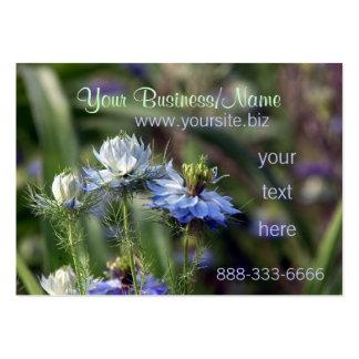 Le jardin bleu fleurit des cartes de profil d'affa modèle de carte de visite