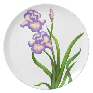 Le jardin pourpre d'iris fleurit le plat de Deco Assiette Pour Soirée