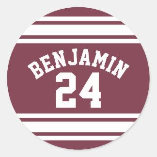 Le Jersey marron et blanc barre le nombre nommé Sticker Rond
