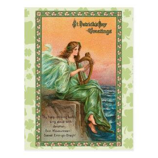 Le jour vintage de St Patrick d'Irlandais Carte Postale