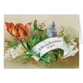 Le Joyeux Noël démodé à vous fleurit Carte De Vœux