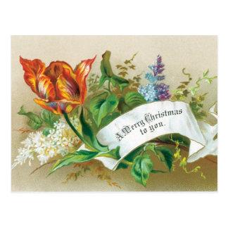 Le Joyeux Noël démodé à vous fleurit Carte Postale