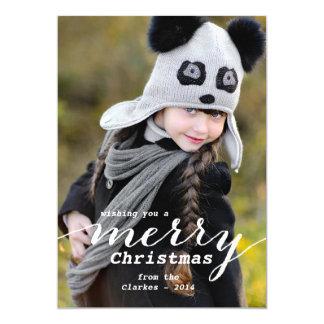 Le Joyeux Noël souhaite le carte photo de vacances Carton D'invitation 12,7 Cm X 17,78 Cm