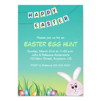 Le lapin de Pâques et a coloré des oeufs, chasse à Carton D'invitation 12,7 Cm X 17,78 Cm