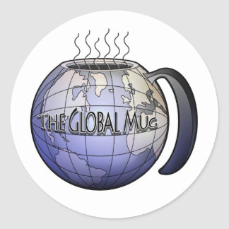 le logo global de tasse sticker rond