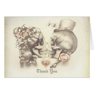 Le mariage de couples de crâne vous remercient des carte de correspondance