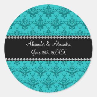 Le mariage favorise la damassé de turquoise autocollant rond