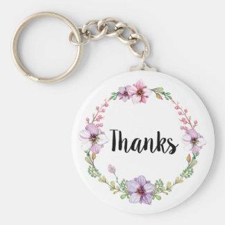 Le mariage floral remercie le porte - clé porte-clé rond