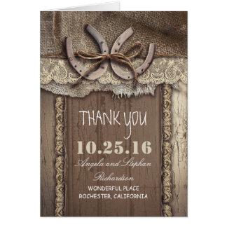 Le mariage occidental en fer à cheval vous remerci carte de vœux