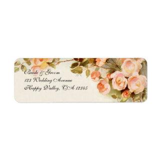 Le mariage vintage rose antique de rose fleurit f étiquettes d'adresse retour