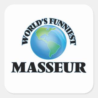 Le masseur le plus drôle du monde sticker carré