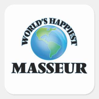 Le masseur le plus heureux du monde sticker carré