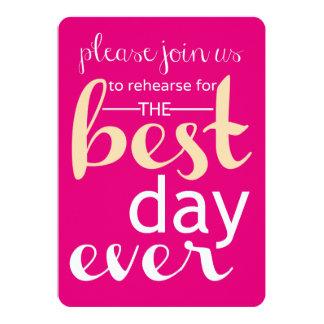 Le meilleur jour épousant jamais la répétition carton d'invitation  12,7 cm x 17,78 cm