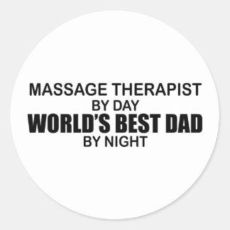 Le meilleur papa du monde - thérapeute de massage sticker rond