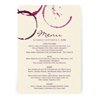 Le menu carde des anneaux de tache de vin de invitation personnalisée