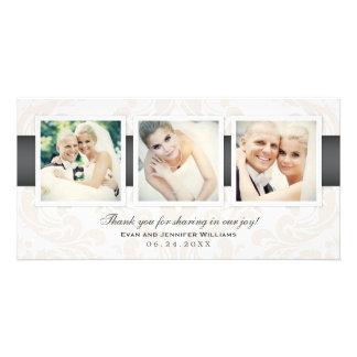Le Merci de photo de mariage carde | trois photos Photocarte Personnalisée