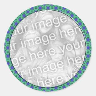 le mod de bleu de turquoise pointille le cadre de  autocollant