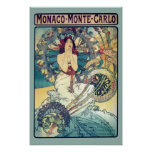 Le Monaco Monte Carlo (Teal - couleurs amorties) Poster