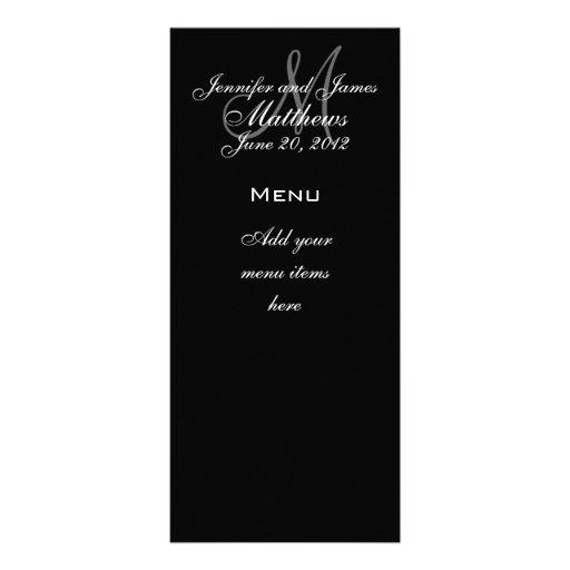 Le monogramme appelle des cartes de menu de mariag doubles cartes