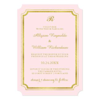 Le monogramme élégant rougissent rose et mariage carton d'invitation  12,7 cm x 17,78 cm