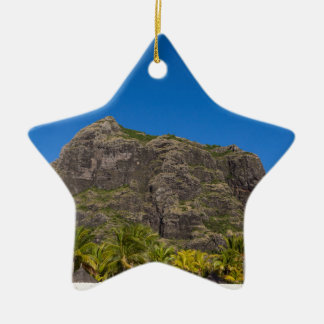 Le Morne Brabant Mauritius with blue sky Ceramic Ornament