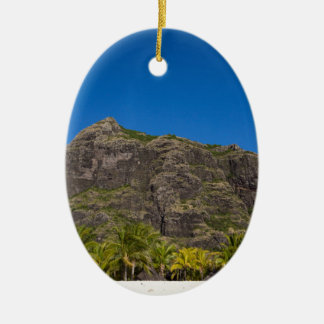Le Morne Brabant Mauritius with blue sky Ceramic Oval Ornament