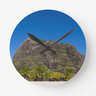Le Morne Brabant Mauritius with blue sky Round Clock