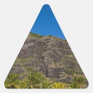 Le Morne Brabant Mauritius with blue sky Triangle Sticker