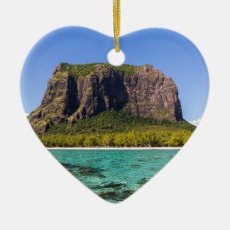 Le Morne Brabant Mauritius with sea panoramic Ceramic Heart Ornament