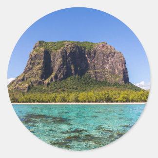 Le Morne Brabant Mauritius with sea panoramic Classic Round Sticker