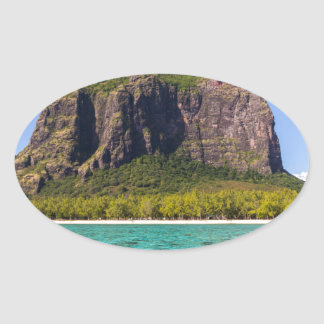 Le Morne Brabant Mauritius with sea panoramic Oval Sticker