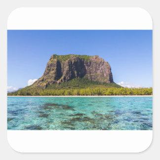 Le Morne Brabant Mauritius with sea panoramic Square Sticker