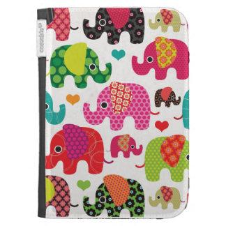 Le motif coloré d'enfants d'éléphant allument la c coque folio kindle