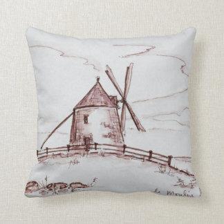 Le Moulin de Moidrey Windmill | Pontorson Throw Pillow