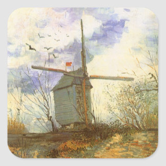 Le Moulin Galette by Vincent van Gogh, Windmill Square Sticker