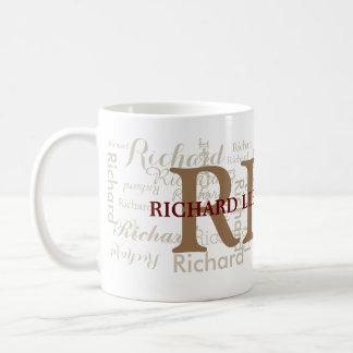 le nom fait sur commande avec des initiales a mug blanc