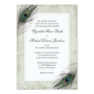 Le paon vintage fait varier le pas du mariage carton d'invitation  12,7 cm x 17,78 cm