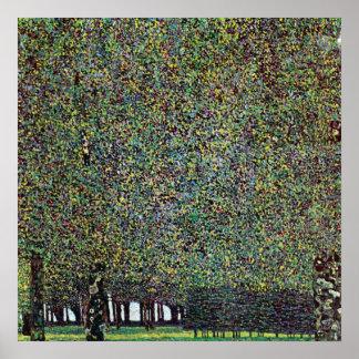 Le parc par Gustav Klimt, arbres vintages de