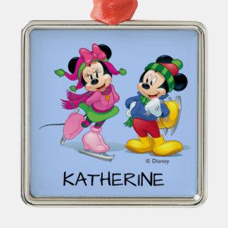 Le patinage de glace de Mickey et de Minnie | Ornement Carré Argenté