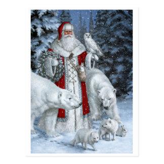 Le père noël avec un hibou et des ours blancs carte postale