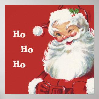 Le père noël clignotant gai, Noël vintage Poster