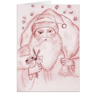 Le père noël démodé en rouge carte de vœux
