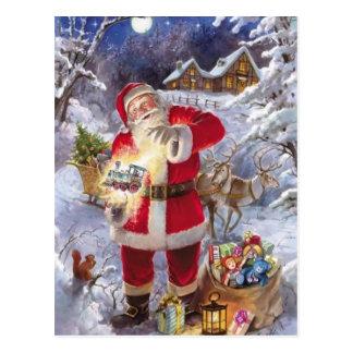 Le père noël vintage dans la neige carte postale