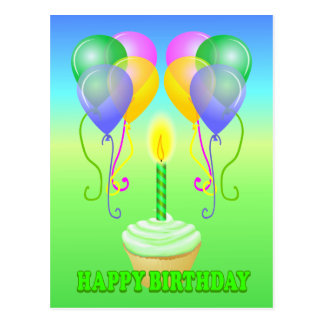 Le petit gâteau de joyeux anniversaire monte en ba cartes postales