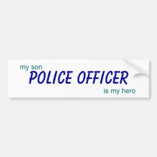 le policier, mon fils est mon héros autocollant de voiture