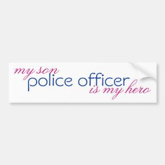le policier, mon fils est mon héros autocollant pour voiture