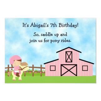 Le poney mignon monte l'invitation rose carton d'invitation  12,7 cm x 17,78 cm