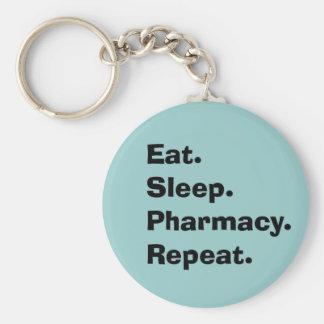 """Le porte - clé drôle de pharmacien """"mangent, dorme porte-clé rond"""